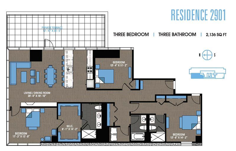 3 bed south loop apartment - 2901 penthouse